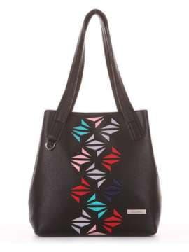 Молодежная сумка с вышивкой, модель 181411 черный. Изображение товара, вид сбоку.