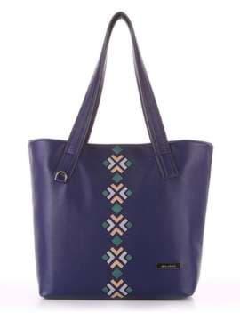 Брендовая сумка с вышивкой, модель 181412 синий. Изображение товара, вид сбоку.