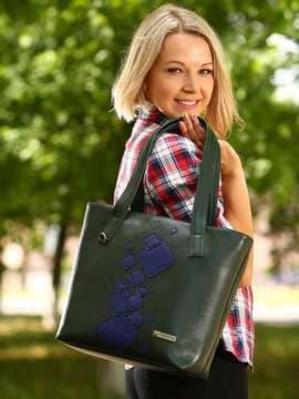 Школьная сумка с вышивкой, модель 181413 темно-зеленый. Изображение товара, вид спереди.
