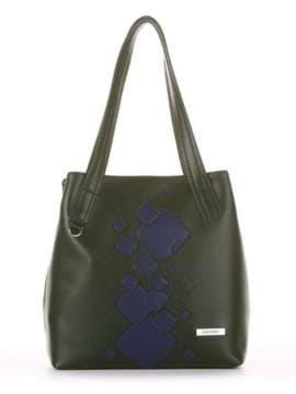 Школьная сумка с вышивкой, модель 181413 темно-зеленый. Изображение товара, вид сбоку.