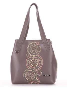 Школьная сумка с вышивкой, модель 181414 темно-серый. Изображение товара, вид сбоку.