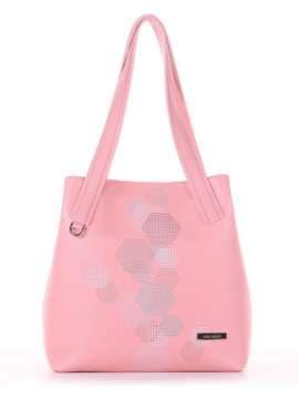 Молодежная сумка с вышивкой, модель 181415 пудрово-розовый. Изображение товара, вид сбоку.