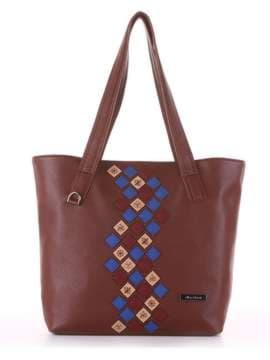 Молодежная сумка с вышивкой, модель 181417 коричневый. Изображение товара, вид сбоку.