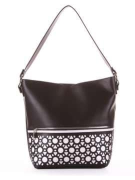 Стильная сумка, модель 181442 черный. Изображение товара, вид сбоку.