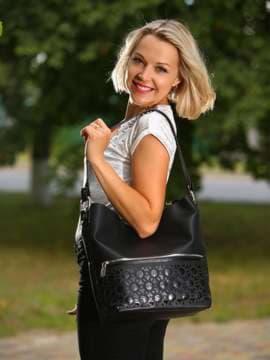 Школьная сумка, модель 181444 черный. Изображение товара, вид спереди.