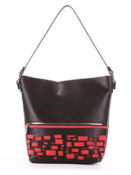 Стильная сумка, модель 181446 черный. Изображение товара, вид сбоку.