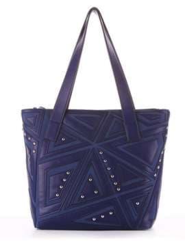 Модная сумка с вышивкой, модель 181512 синий. Изображение товара, вид сбоку.