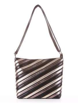 Брендовая сумка через плечо с вышивкой, модель 181481 черный. Изображение товара, вид сбоку.
