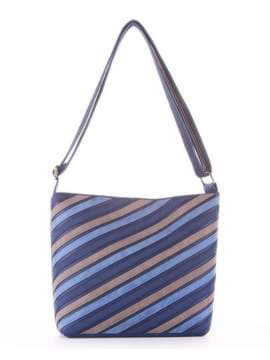 Стильная сумка через плечо с вышивкой, модель 181482 синий. Изображение товара, вид сбоку.