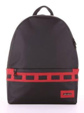 Стильный рюкзак - unisex, модель 181602 черно-красный. Изображение товара, вид сбоку.