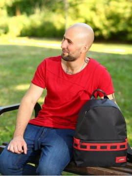 Модный рюкзак - unisex, модель 181612 черно-красный. Изображение товара, вид спереди.