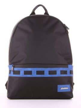 Женский рюкзак - unisex, модель 181613 черно-синий. Изображение товара, вид сбоку.