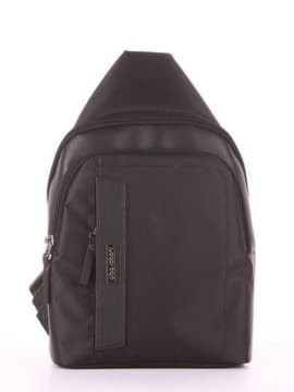 Школьный моно рюкзак, модель 181621 черный. Изображение товара, вид сбоку.