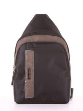 Школьный моно рюкзак, модель 181624 черный-хаки. Изображение товара, вид сбоку.