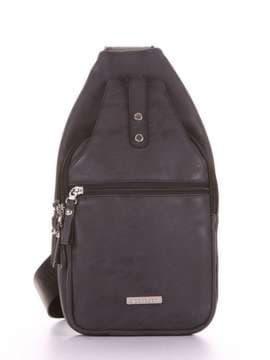 Школьный моно рюкзак, модель 181651 черный. Изображение товара, вид сбоку.