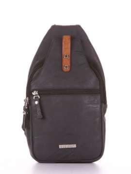 Школьный моно рюкзак, модель 181653 черный. Изображение товара, вид сбоку.