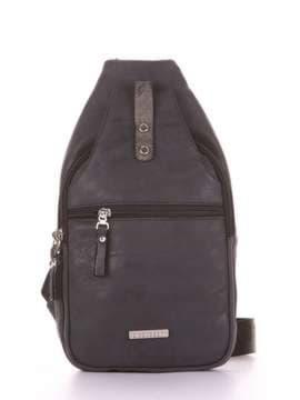 Брендовый моно рюкзак, модель 181654 черный. Изображение товара, вид сбоку.