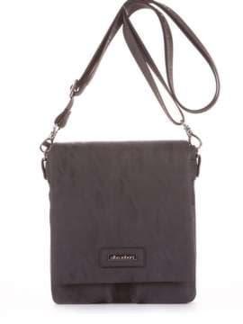 Школьная сумка через плечо, модель 181641 черный. Изображение товара, вид сбоку.