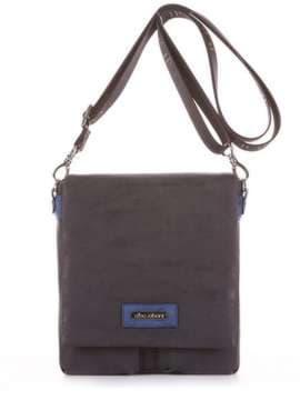 Модная сумка через плечо, модель 181642 черный. Изображение товара, вид сбоку.
