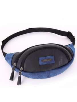 Женская сумка на пояс, модель 181662 черный. Изображение товара, вид сбоку.