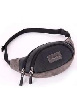 Модная сумка на пояс, модель 181664 черный. Изображение товара, вид сбоку.