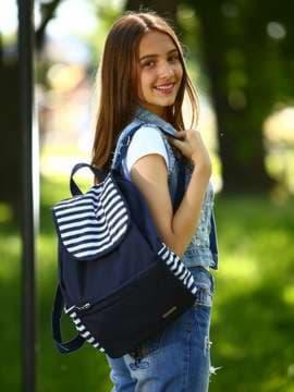 Стильный рюкзак, модель 183811 синий/белая полоса. Изображение товара, вид спереди.