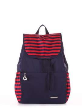 Женский рюкзак, модель 183812 синий/красная полоса. Изображение товара, вид сбоку.