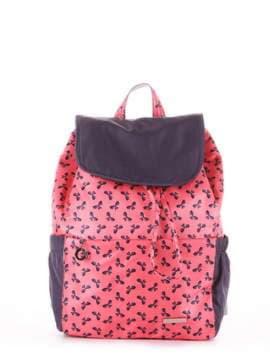 Женский рюкзак, модель 183815 коралловый/серый. Изображение товара, вид сбоку.