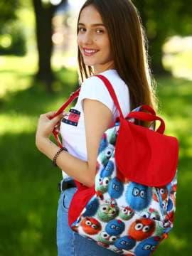 Брендовый рюкзак, модель 183817 веселые пушистики/красный. Изображение товара, вид спереди.
