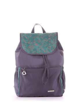 Молодежный рюкзак с вышивкой, модель 183843 серо-зеленый. Изображение товара, вид сбоку.