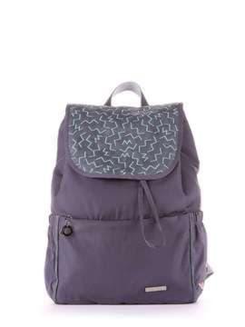 Стильный рюкзак с вышивкой, модель 183844 серый. Изображение товара, вид сбоку.