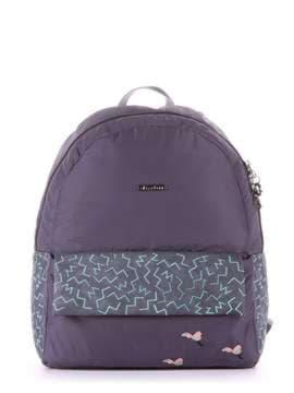 Брендовый рюкзак с вышивкой, модель 183854 серый. Изображение товара, вид сбоку.