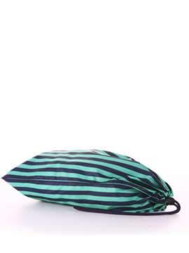 Молодежный мешочек для обуви, модель 183833 синий/зелёная полоса. Изображение товара, вид сзади.