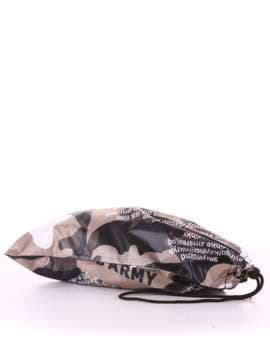 Стильный мешочек для обуви, модель 183836 милитари/черный. Изображение товара, вид сзади.