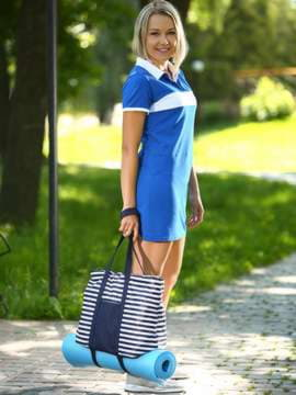 Модная сумка, модель 183801 синий/белая полоса. Изображение товара, вид спереди.
