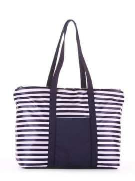 Модная сумка, модель 183801 синий/белая полоса. Изображение товара, вид сзади.