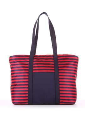 Стильная сумка, модель 183802 синий/красная полоса. Изображение товара, вид сбоку.