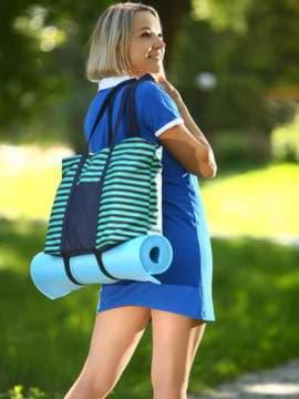 Стильная сумка, модель 183803 синий/зелёная полоса. Изображение товара, вид спереди.