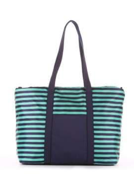 Стильная сумка, модель 183803 синий/зелёная полоса. Изображение товара, вид сбоку.