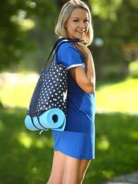Молодежная сумка, модель 183804 синий/белый горох. Изображение товара, вид спереди.