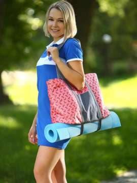 Модная сумка, модель 183805 коралловый/серый. Изображение товара, вид спереди.