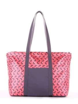 Модная сумка, модель 183805 коралловый/серый. Изображение товара, вид сбоку.