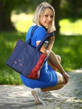 Брендовая сумка с вышивкой, модель 183861 сине-красный. Изображение товара, вид спереди.