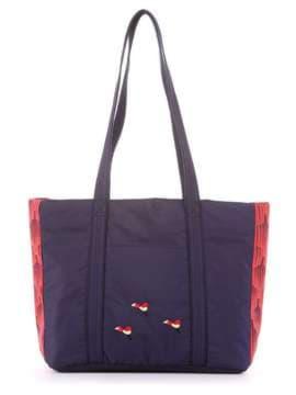 Брендовая сумка с вышивкой, модель 183861 сине-красный. Изображение товара, вид сбоку.
