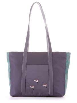 Молодежная сумка с вышивкой, модель 183863 серо-зеленый. Изображение товара, вид сбоку.