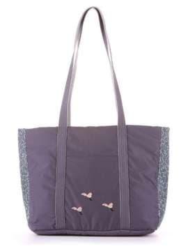 Модная сумка с вышивкой, модель 183864 серый. Изображение товара, вид сбоку.