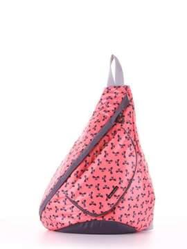 Стильный моно рюкзак, модель 183825 коралловый/серый. Изображение товара, вид сбоку.