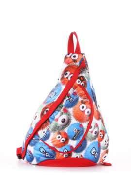 Брендовый моно рюкзак, модель 183827 веселые пушистики/красный. Изображение товара, вид сбоку.