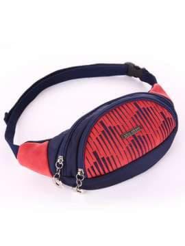 Молодежная сумка на пояс с вышивкой, модель 183881 сине-красный. Изображение товара, вид сбоку.