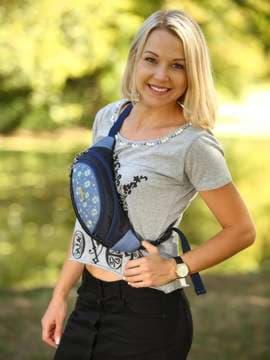 Модна сумка на пояс з вышивкою, модель 183882 синій. Зображення товару, вид спереду.
